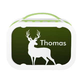 Green Gradient White Deer Monogram Lunch Box