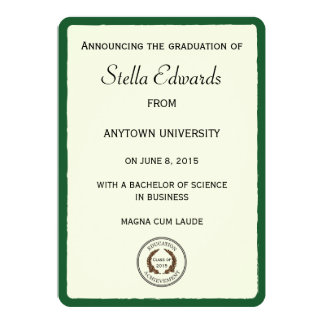 Green Graduation Announcements Round Corners