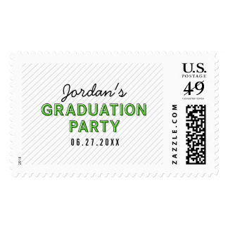 Green Graduation Party Modern Stripes Postage