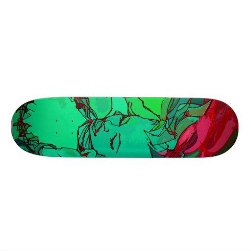 green graffiti girl skate board