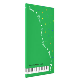 Green Grand Piano Canvas Wrap Vertical Large