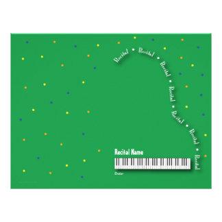 Green Grand Piano Recital Blank Letterhead