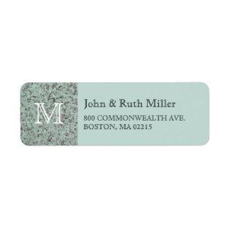 Green Granite Monogram Return Address Labels