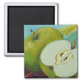 Green Granny Smith Apple 2 Inch Square Magnet