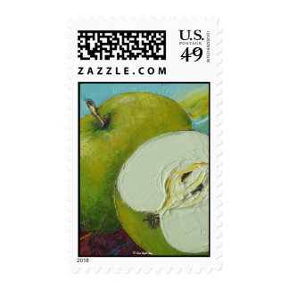 Green Granny Smith Apple Postage Stamp