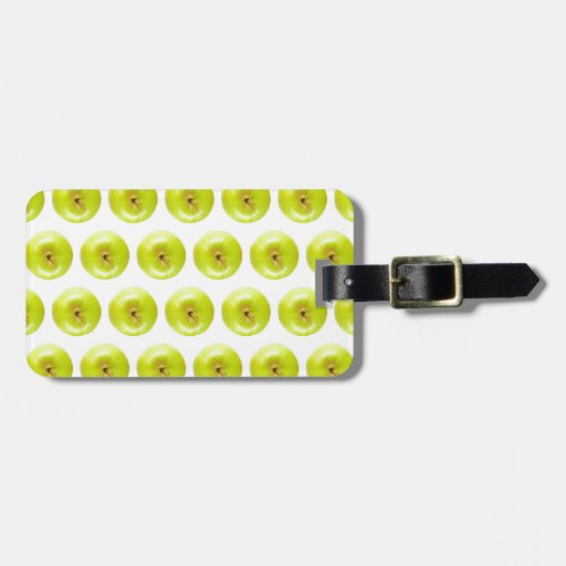 Green Granny Smith Apples Seamless Background Travel Bag Tags