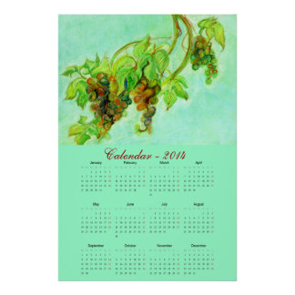 Green grapes pastel art calendar 2014 poster