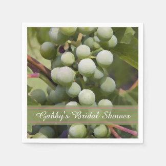 Green Grapes Vineyard Bridal Shower Paper Napkin