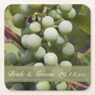 Green Grapes Vineyard Wedding Square Paper Coaster