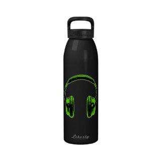 Green Graphic Headphones Water Bottle