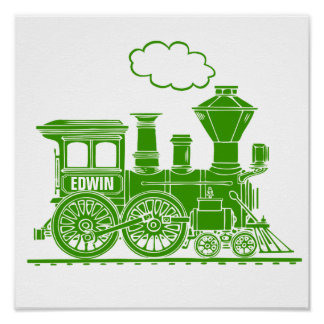 Green graphic train personalized nursery kids art poster