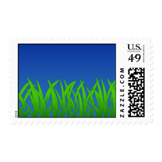 Green Grass Against Clear Blue Sky Postage
