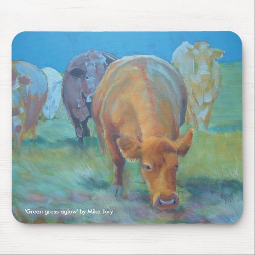 Green grass aglow mouse pad