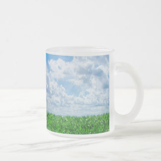 Green grass and blue sky frosted glass coffee mug