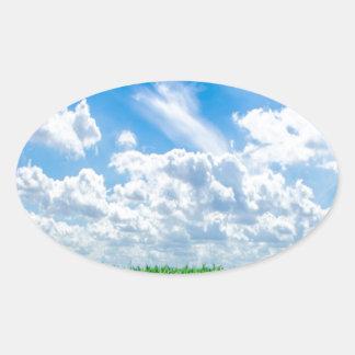 Green grass and blue sky oval sticker