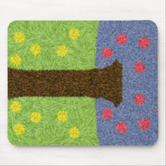 Green grass and blue tree mouse pad