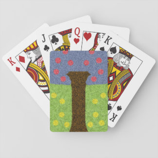 Green grass and blue tree playing cards
