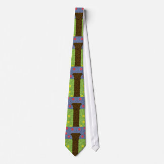 Green grass and blue tree tie