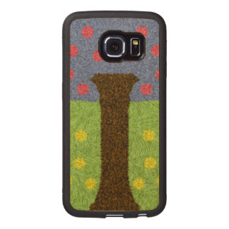 Green grass and blue tree wood phone case