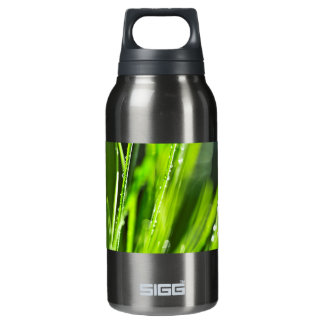 Green grass background thermos bottle