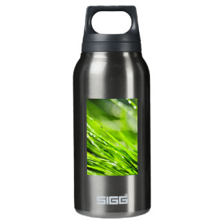 Green grass background thermos water bottle
