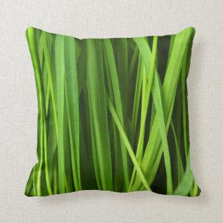 Green Grass background Throw Pillows