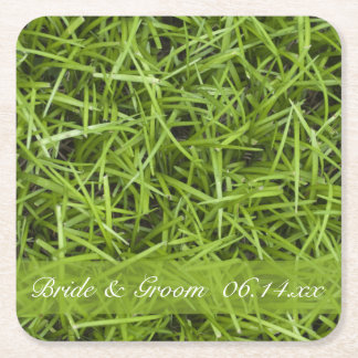 Green Grass Backyard Wedding Square Paper Coaster