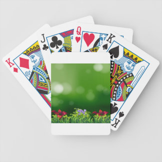 Green grass bicycle playing cards