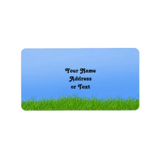 Green Grass & Blue Sky Background Label
