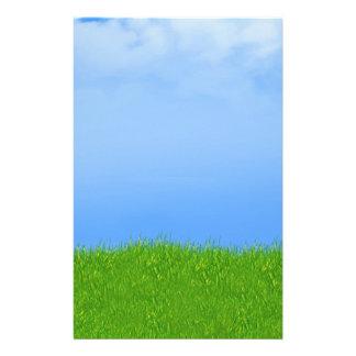 Green Grass & Blue Sky Background Stationery