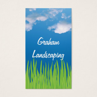 Green Grass Blue Sky Landscaping BUsiness Card