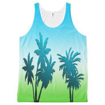 Beach Themed Green Grass Blue Sky Paradise Beach Palm Tree All-Over-Print Tank Top
