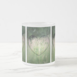 Green Grass Heart Frosted Glass Coffee Mug