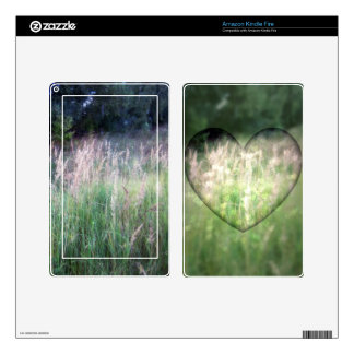 Green Grass Hearts Skin For Kindle Fire