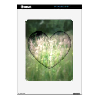Green Grass Hearts Skins For iPad