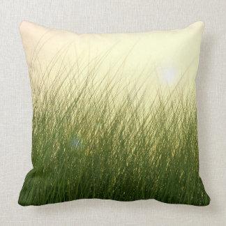 Green Grass in Bright Sun Throw Pillow