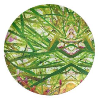 Green Grass Jungle Garden Abstract Art Photo Dinner Plates