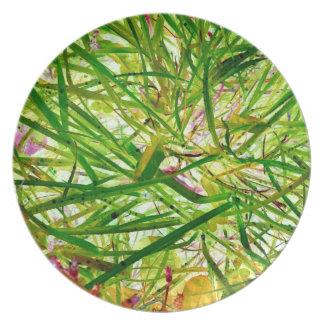 Green Grass Jungle Garden Abstract Art Photo Party Plates