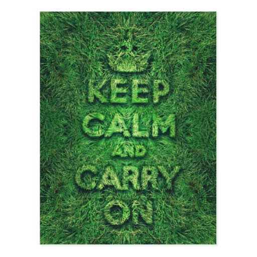 Green grass keep calm and carry on postcard