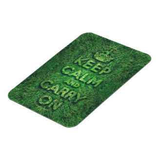 Green grass keep calm and carry on rectangle magnets