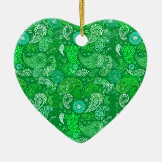 Green grass paisley ceramic ornament