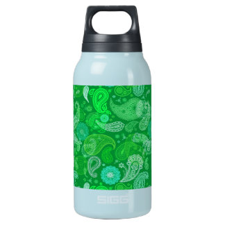 Green grass paisley insulated water bottle
