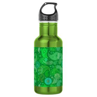 Green grass paisley 18oz water bottle