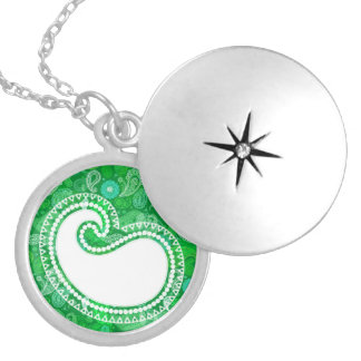 Green grass paisley round locket necklace