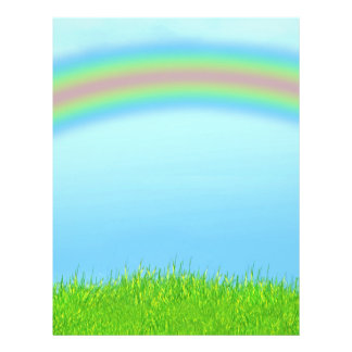 Green Grass, Rainbow & Blue Sky Background Flyer