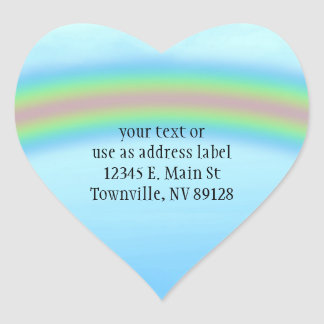 Green Grass, Rainbow & Blue Sky Background Heart Sticker