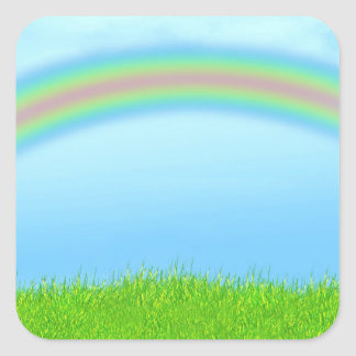Green Grass, Rainbow & Blue Sky Background Square Sticker