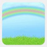 Green Grass, Rainbow & Blue Sky Background Stickers
