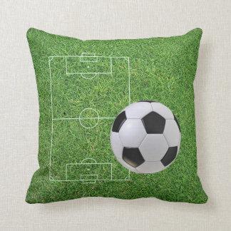 Green Grass Soccer Field And Ball Pillow