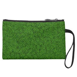 Green Grass Suede Wristlet Wallet